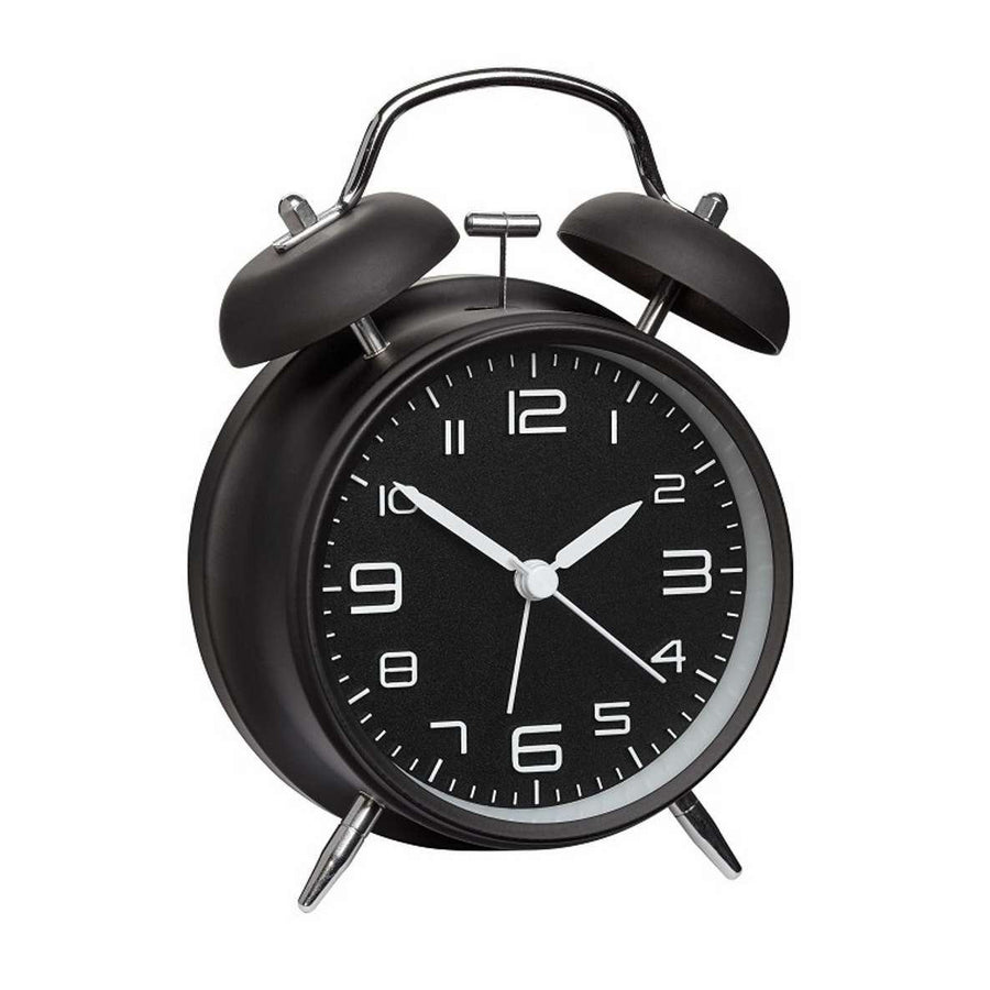 TFA Loud Double Bells Alarm Clock, Black, 16cm