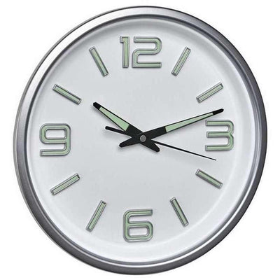 TFA Flourescent Hands Wall Clock White Silver 30cm 60.3040.02 Front