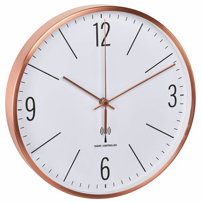TFA Germany Adrian Analogue Copper Frame Wall Clock Copper and White 30cm 60.3534.51 1