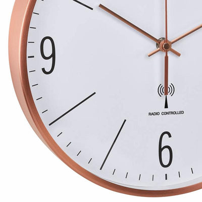 TFA Germany Adrian Analogue Copper Frame Wall Clock Copper and White 30cm 60.3534.51 3