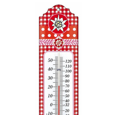 TFA Germany Alpine Indoor Outdoor Metal Thermometer Red Edelweiss 30cm 12.2052.05 2