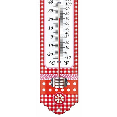TFA Germany Alpine Indoor Outdoor Metal Thermometer Red Edelweiss 30cm 12.2052.05 3