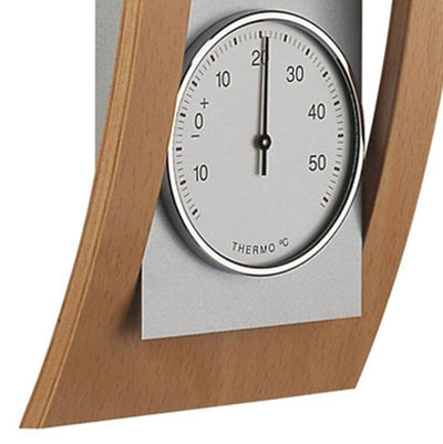 TFA Germany Baron Analogue Wood and Aluminium Weather Station Beech 39cm 20.1082.05 4