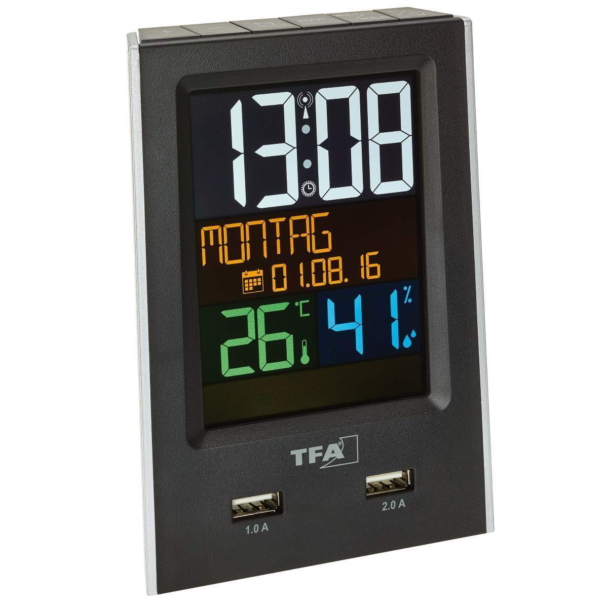 TFA Charge It Mains Powered USB Charging Digital Alarm Clock, 14cm
