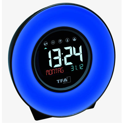 TFA Germany Dexter Mood Light Alarm Clock Changing Colours 14cm 60.2023.02 2