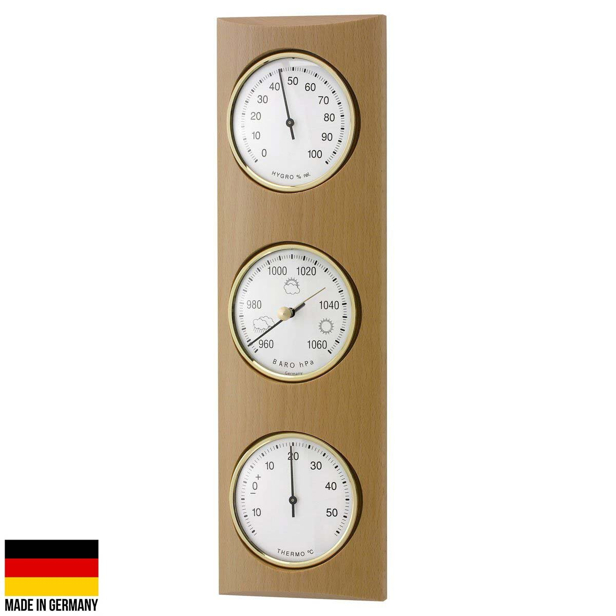TFA Germany Gordon Analogue Solid Wood Weather Station Beech Natural 35cm 20.1028.05 1