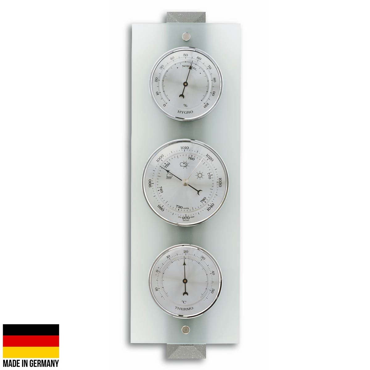 TFA Germany Hadley Analogue Glass Weather Station Grey Glass 39cm 20.1067.17 1