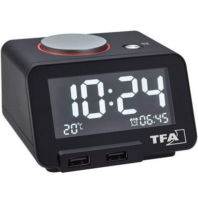 TFA Germany Hometime Digital Alarm Clock Black 11cm 60.2017.01 1