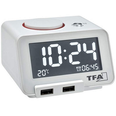 TFA Germany Hometime Digital Alarm Clock White 11cm 60.2017.02 1