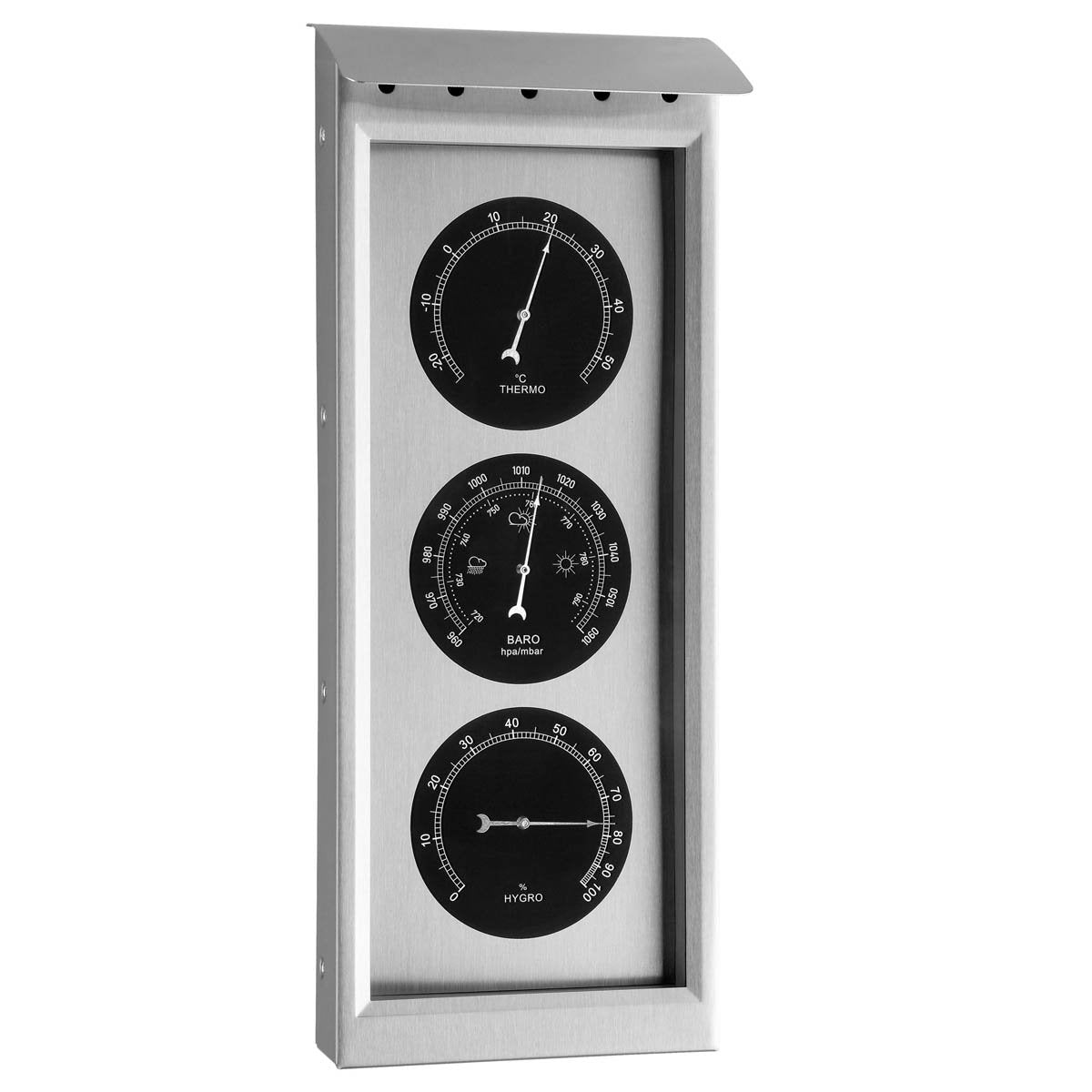 TFA Kyrie Outdoor Stainless Steel Weather Station, Silver, 36cm