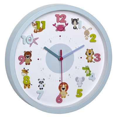 TFA Germany Laila Childrens Little Animals Wall Clock Blue 31cm 60.3051.14 1