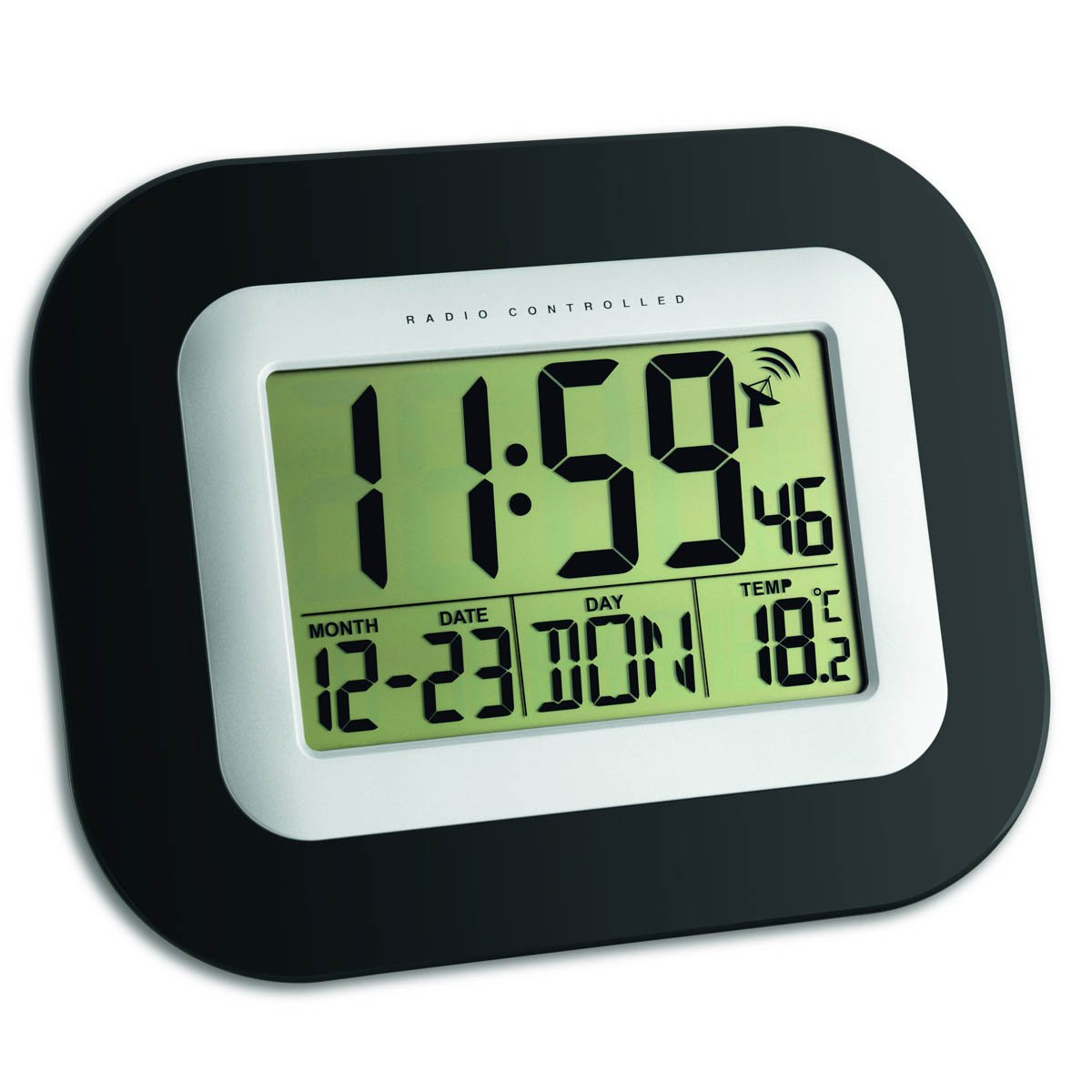 TFA Livingston Date Temp Digital Wall & Alarm Clock, Black, 23cm