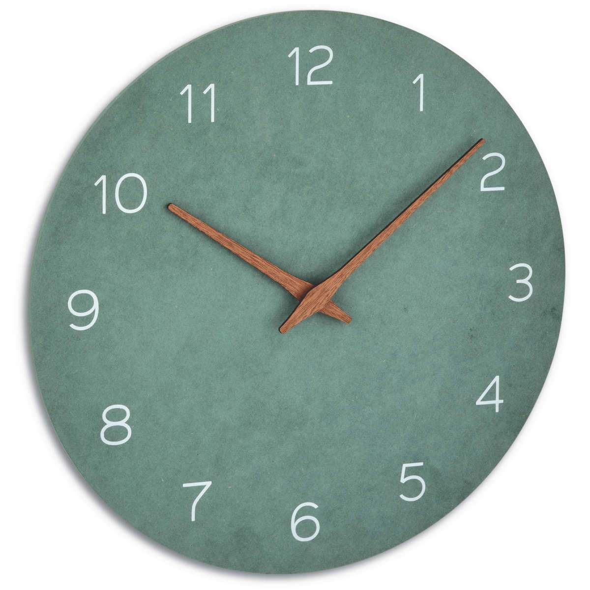 TFA Germany Melany Minimalist Wooden Hands Wall Clock Jade Green 30cm 60.3054.04 1