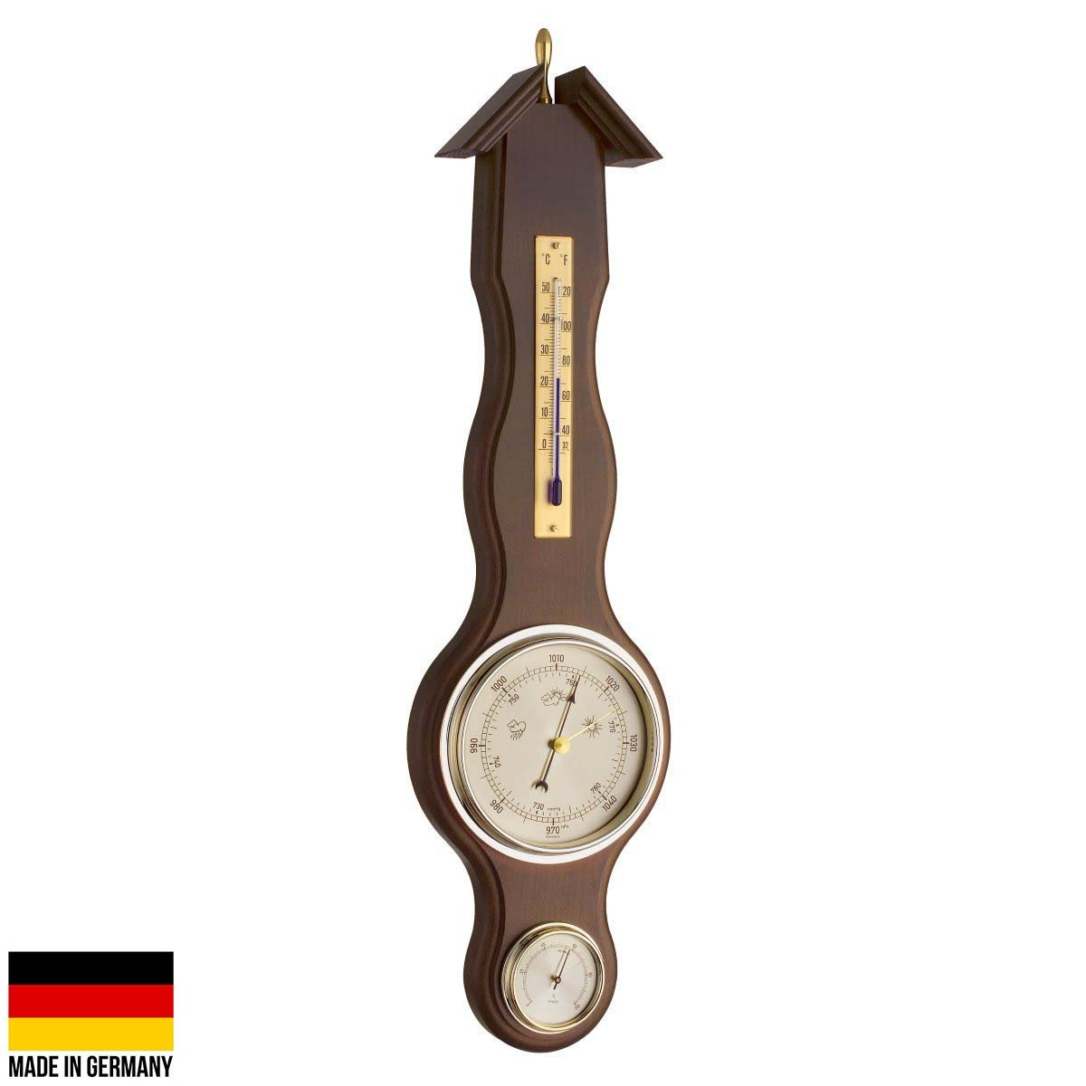 TFA Germany Sheraton Flange Weather Station Walnut Finish 46cm 20.1037.03 1