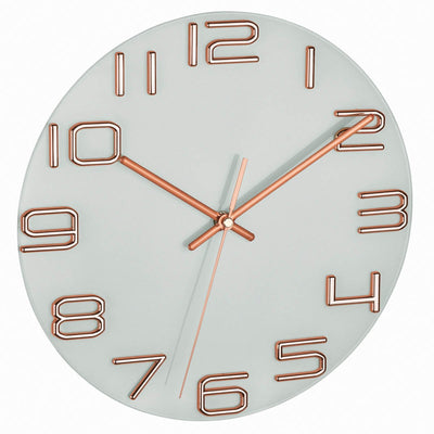 TFA Germany Sonia Analogue Glass Dial Wall Clock Copper 30cm 60.3043.51 1