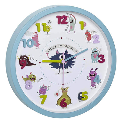 TFA Germany Wally Childrens Little Monsters Wall Clock Turquoise 31cm 60.3051.20 1