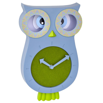 TFA Germany Willy Childrens Pendulum Moving Eyes Owl Wall Clock Blue 33cm 60.3052.06 1