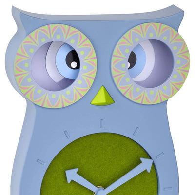 TFA Germany Willy Childrens Pendulum Moving Eyes Owl Wall Clock Blue 33cm 60.3052.06 2