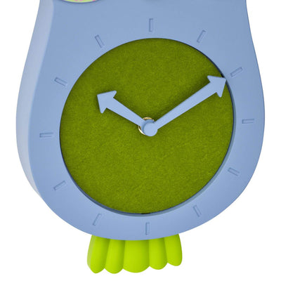 TFA Germany Willy Childrens Pendulum Moving Eyes Owl Wall Clock Blue 33cm 60.3052.06 3