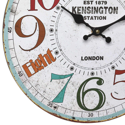 TFA Kensington Station Vintage Wood Wall Clock 41cm Bottom 60.3045.11
