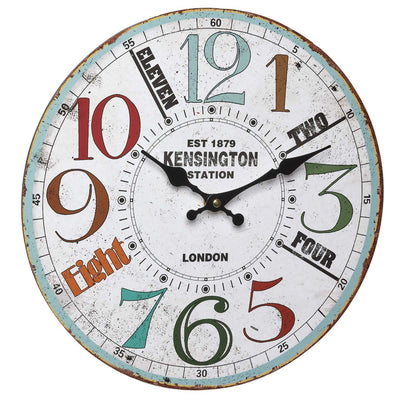 TFA Kensington Station Vintage Wood Wall Clock 41cm Front 60.3045.11