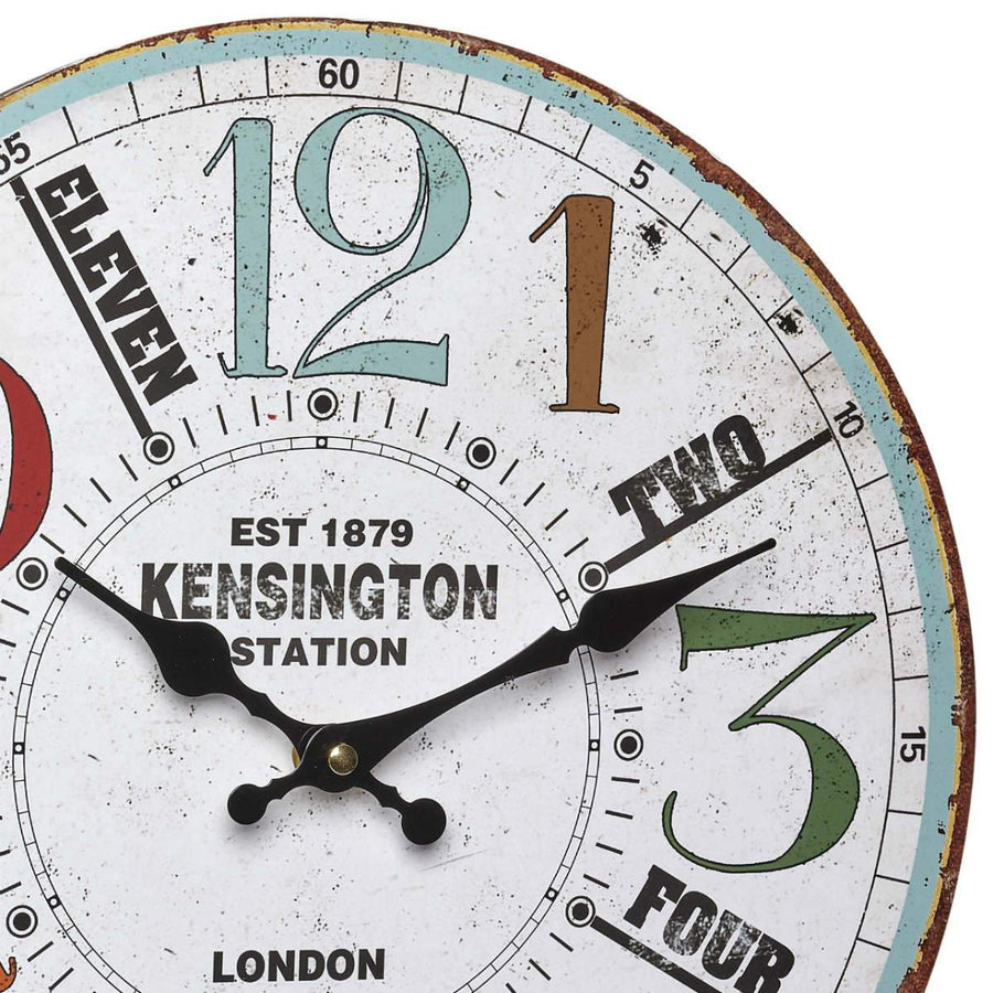 TFA Kensington Station Vintage Wood Wall Clock, 34cm