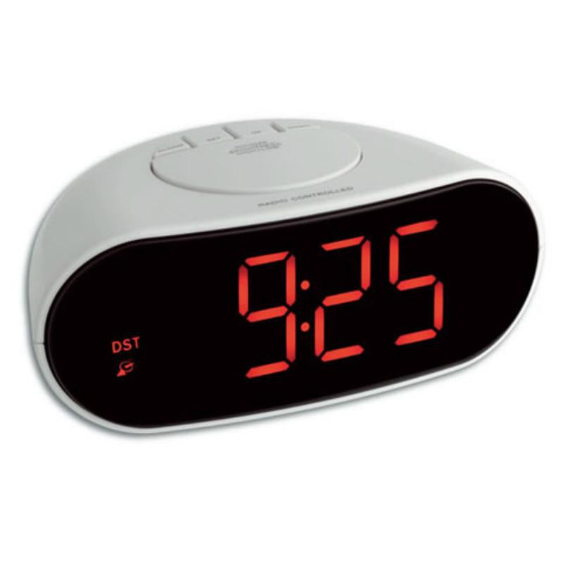 TFA LED Digital Alarm Clock, White, 17cm