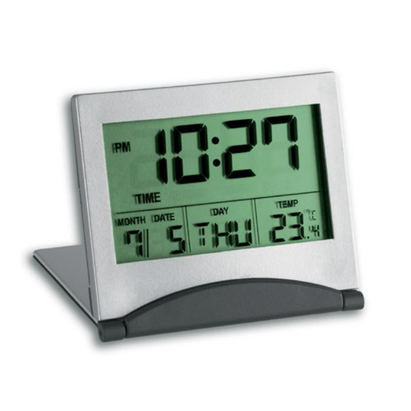 TFA Multifunctional Travel Digital Alarm Clock, Silver, 7cm