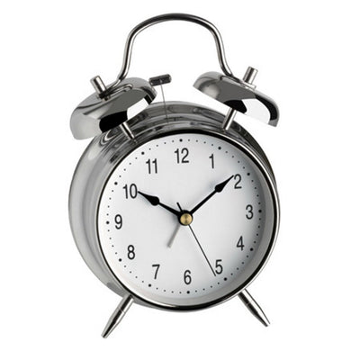 TFA Nostalgia Double Bells Alarm Clock Chrome 18cm 98.1043
