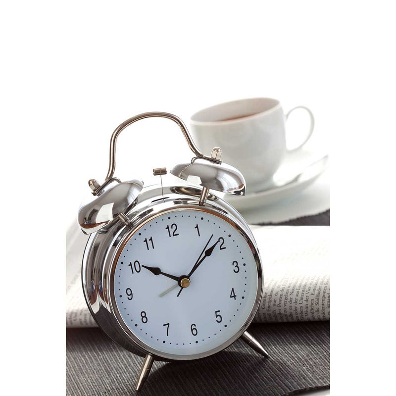 TFA Nostalgia Double Bells Alarm Clock, Chrome, 18cm