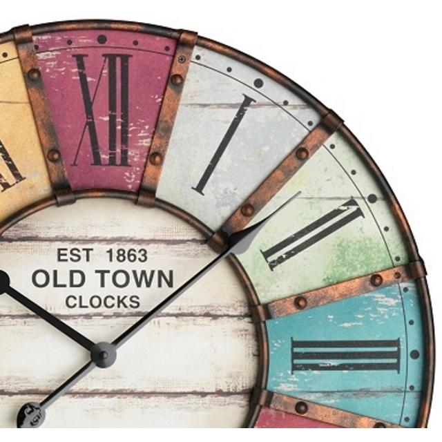 TFA Old Town Vintage Metal Wall Clock 60cm 60.3021 Front