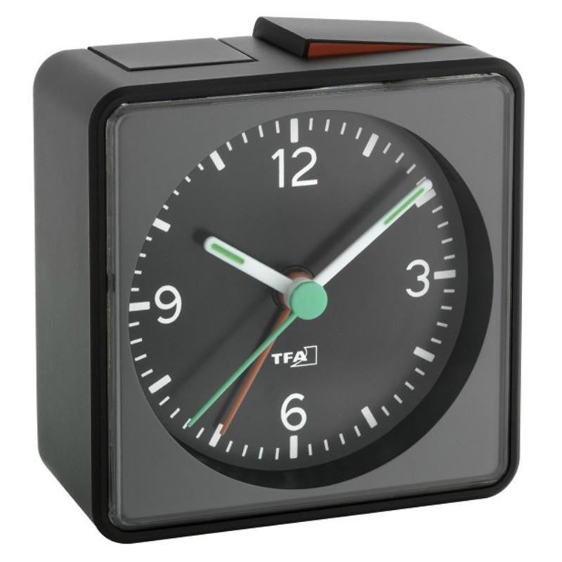 TFA Square Push Alarm Clock, Black, 7cm