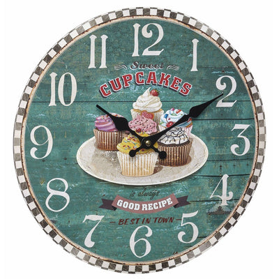 TFA Sweet Cupcakes Vintage Wood Wall Clock 34cm 60.3045.13 Front
