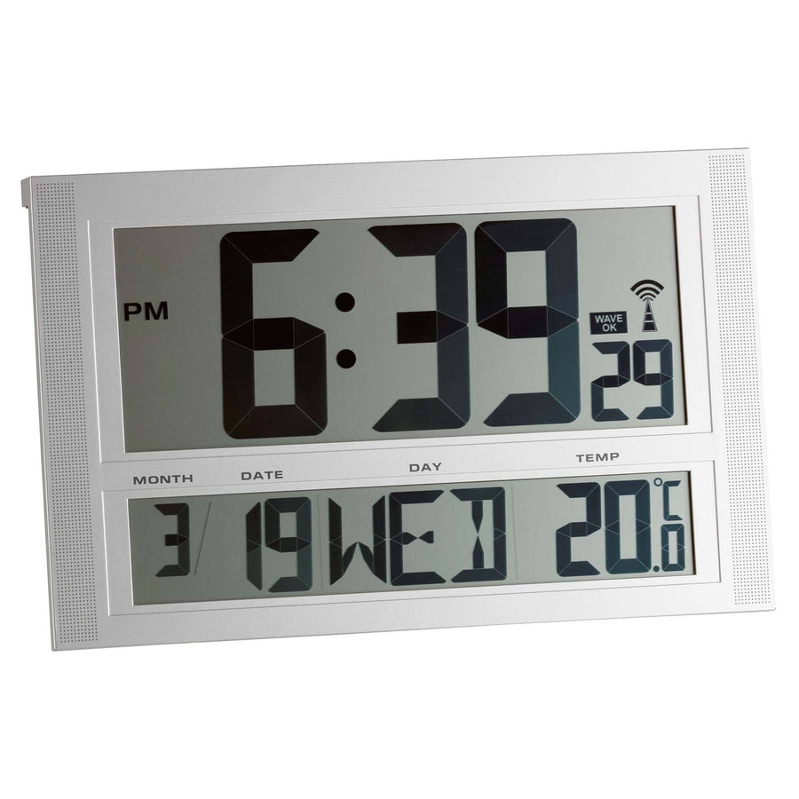 TFA Temperature Day Date Digital Alarm Wall or Table Clock 42cm 98.1090