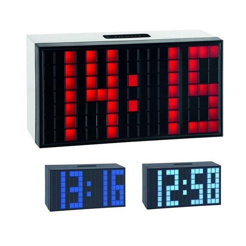 TFA Time Block Digital Alarm Table Clock, Ice Blue, 17cm