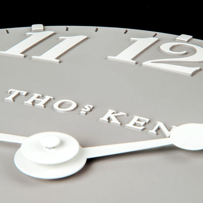 Thomas Kent Arabic Wall Clock Dove Grey Closeup 31cm KC12156