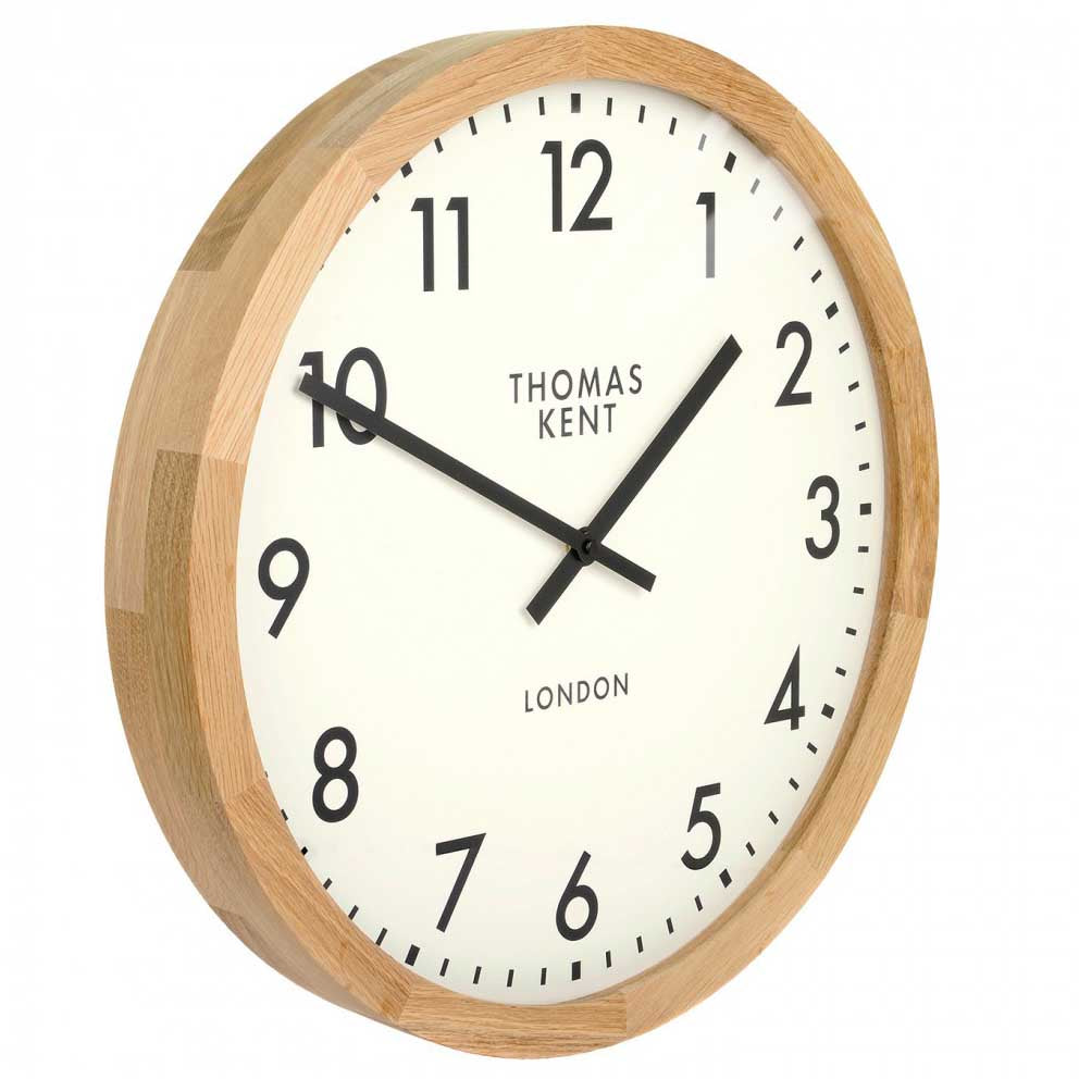 Thomas Kent Clifton Wall Clock, Oak, 46cm