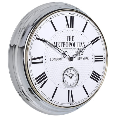 Thomas Kent Metropolitan Polished Wall Clock White 51cm Angle KC2004