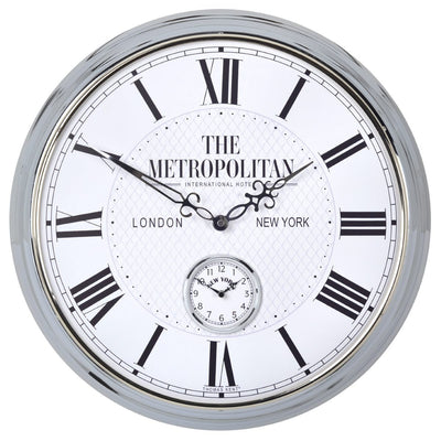 Thomas Kent Metropolitan Polished Wall Clock White 51cm Front KC2004