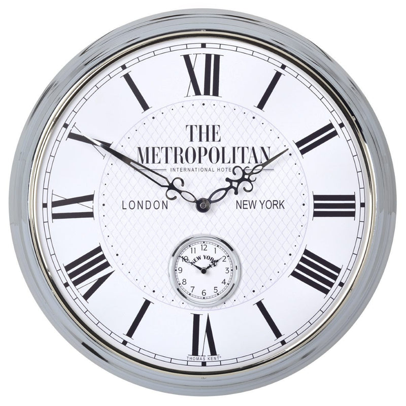 Thomas Kent Metropolitan Polished Wall Clock, White, 51cm