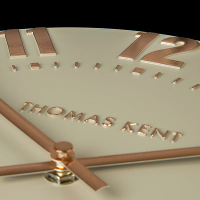 Thomas Kent Mulberry Wall Clock Rose Gold 50cm KC2052 Closeup