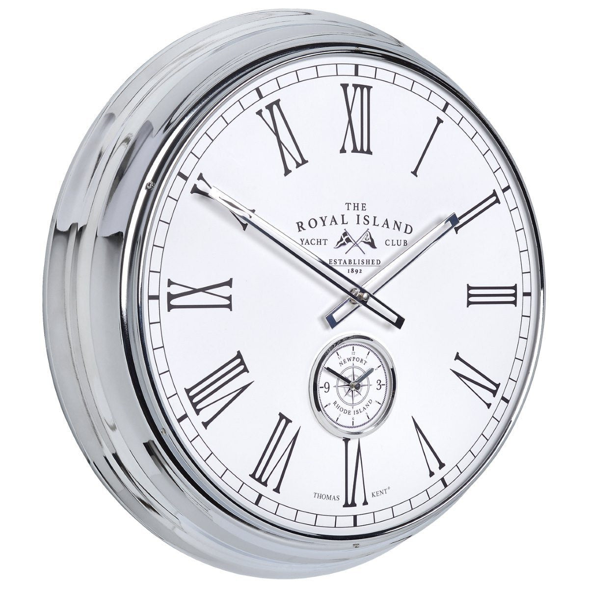 Thomas Kent Royal Island Yacht Club Wall Clock, White, 51cm