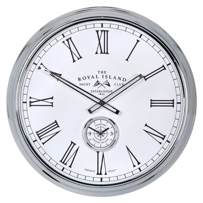 Thomas Kent Royal Island Yacht Club Wall Clock White 51cm Front KC2002