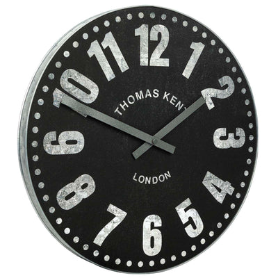 Thomas Kent Wharf Wall Clock Charcoal Black 38cm KC1533 Angle