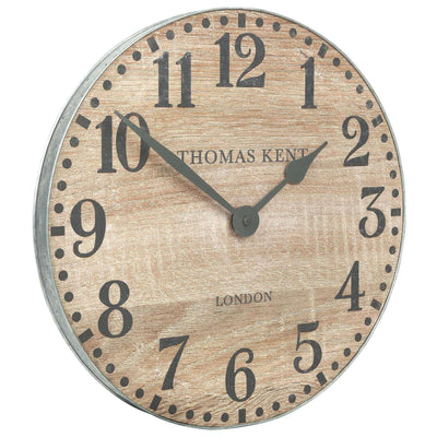 Thomas Kent Wharf Wall Clock Soaped Oak Brown 38cm KC1531 Angle