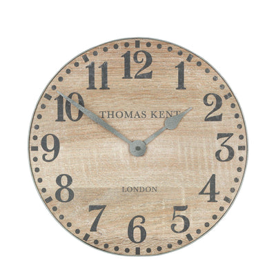 Thomas Kent Wharf Wall Clock Soaped Oak Brown 38cm KC1531 Front