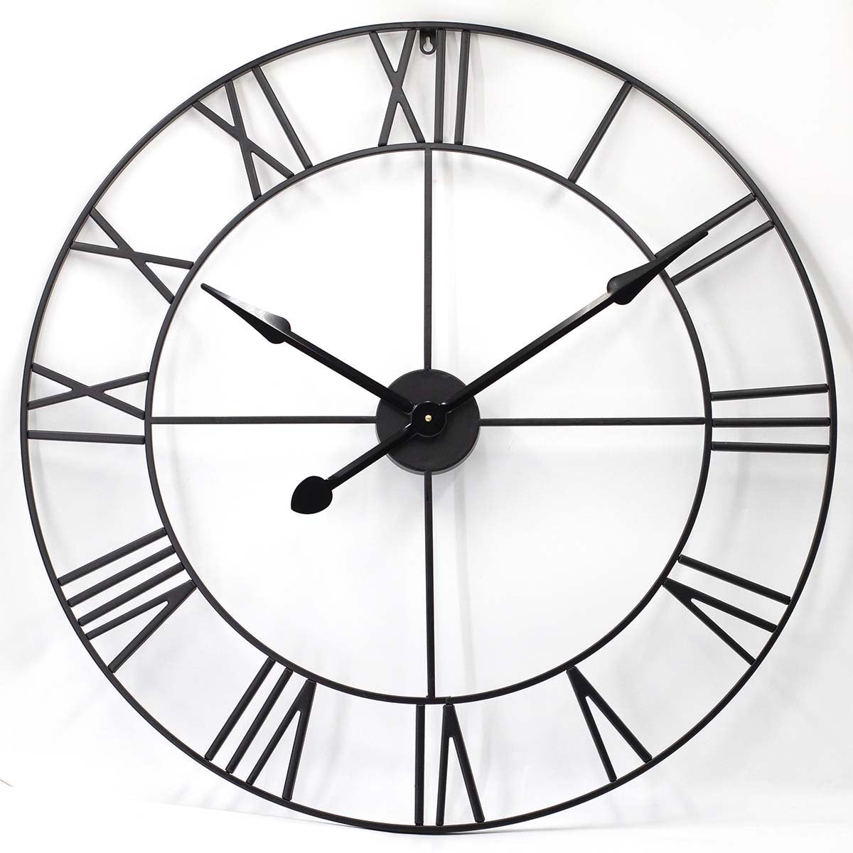 Toki Karl Extra Large Metal Roman Skeleton Wall Clock Black 80cm 23064 1