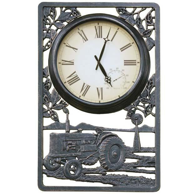 Tractor Cast Aluminium Thermometer Outdoor Wall Clock, 72cm