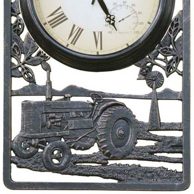 Tractor Cast Aluminium Thermometer Outdoor Wall Clock Bottom 72cm CT-C13