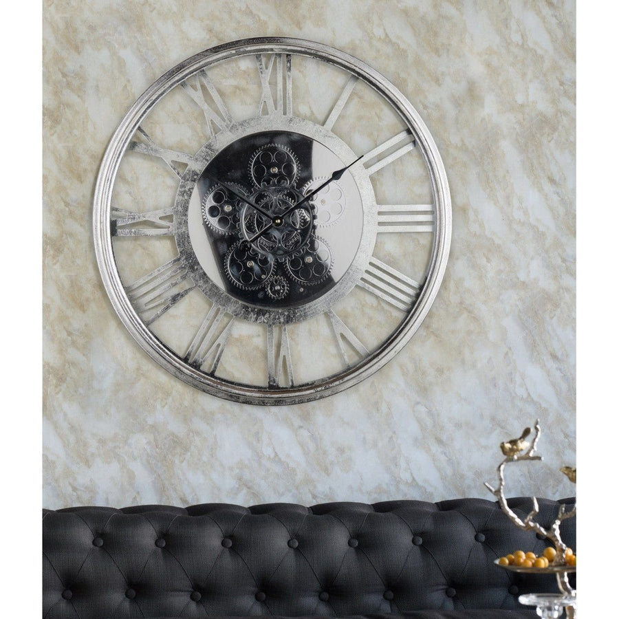 Transitional Mirrored Gears Wall Clock, 54cm